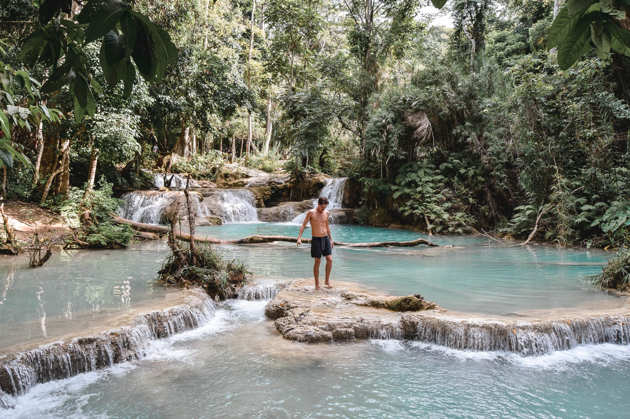 Wanderers & Warriors - Charlie & Lauren UK Travel Couple - Kuang Si Falls Luang Prabang Waterfall Kuang Si Waterfall Laos Waterfalls