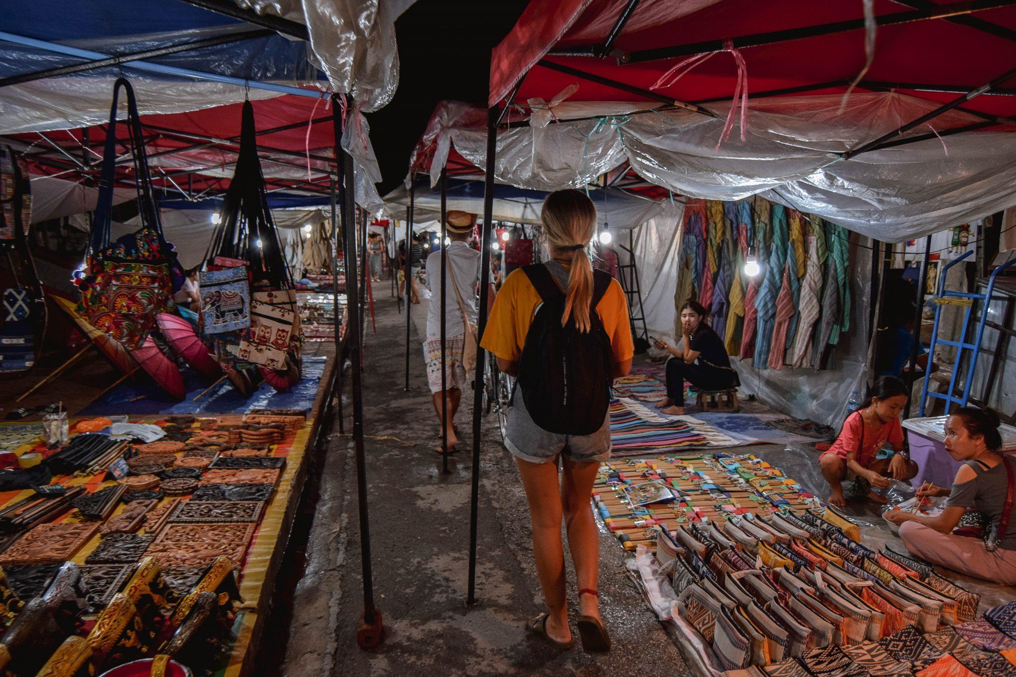 Wanderers & Warriors - Charlie & Lauren UK Travel Couple - Luang Prabang Night Market - The Best Market In Asia - Luang Prabang Attractions - Shopping In Luang Prabang Market - Laos Night Market