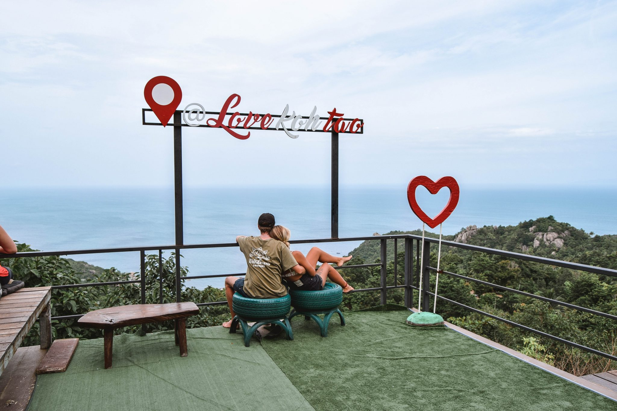 Wanderers & Warriors - Charlie & Lauren UK Travel Couple - Love Koh Tao Viewpoint Koh Tao Viewpoints - Love Koh Tao Sign