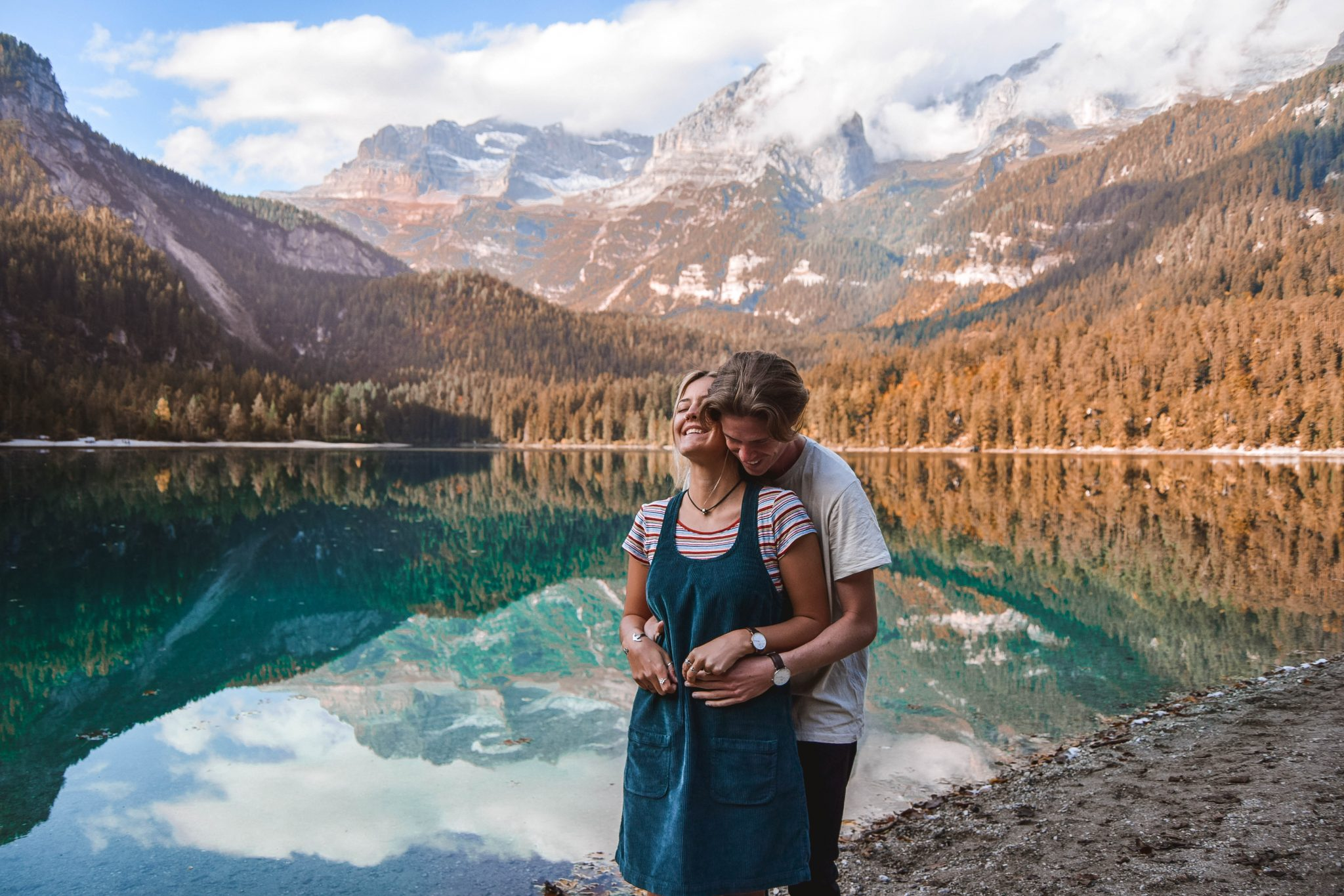 Wanderers & Warriors - Charlie & Lauren UK Travel Couple - Lago Di Tovel Trentino Lago Tovel Lake Tovel