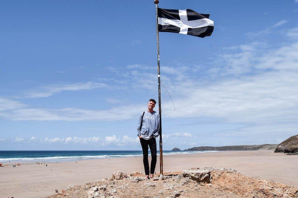Saint Piran's Flag Chapel Rock Perranporth Beach Cornwall